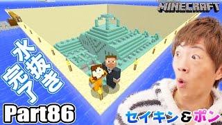 マインクラフト part86 ついに海底神殿水抜き完了 トロッコて 家とつなき ます セイキン ポン セイキンゲームズ