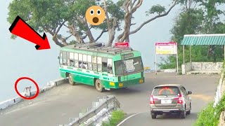TN Govt 2 Buses Attend Time Edge Of  Turning On 34/70 Hairpin bend at Kolli Hills