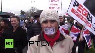 UK: Ex-EDL leader Tommy Robinson leads PEGIDA UK rally in Birmingham