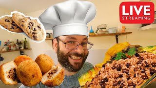 Papa Rellenas, Gallo Pinto, y Chocolate Chip Cookies | October 8th Cooking Live Stream