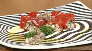 Pimientos Rellenos De Setas Con Vinagreta De Anchoas / Stuffed Piquillo Peppers With Mushrooms