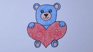 Cómo dibujar un oso del kawaii abrazando un corazón