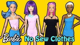 How to Make No Sew Clothes for Barbie Dolls - DIY Easy Doll Crafts - Making Kids Toys