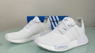 Adidas White NMD R1 monochrome Nomad runners pack on feet review