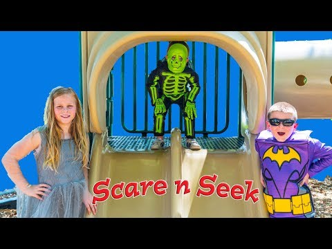 Assistant and Batboy Scare and Seek with Inflateable Dinosaur and Baby Skeleton