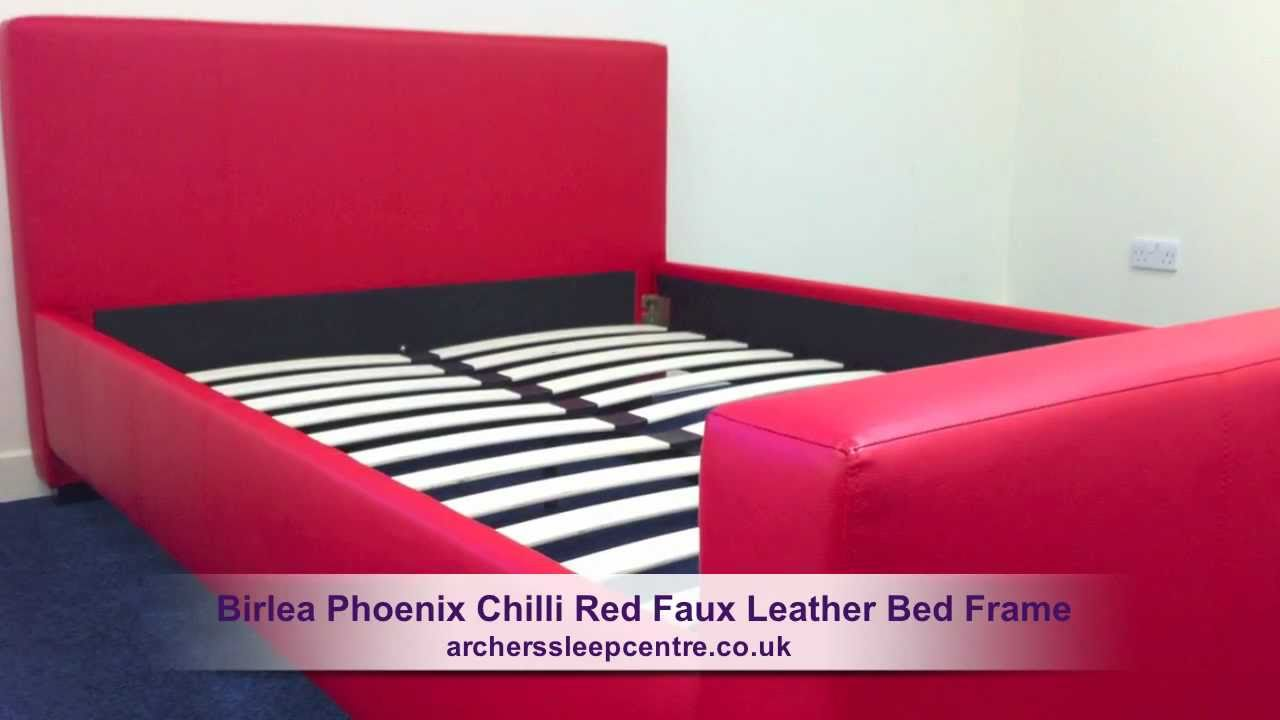 Birlea Phoenix Chilli Red Faux Leather Bed Frame Youtube