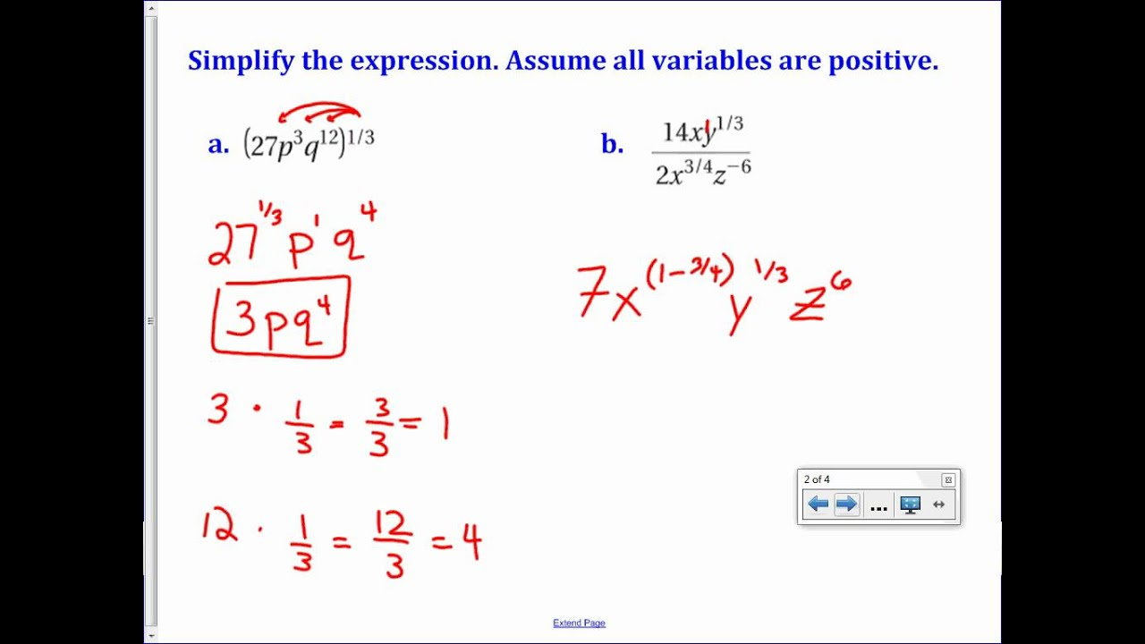 Evaluate Nth Roots Use Properties Of Rational Exponents – Properties of Rational Exponents Worksheet