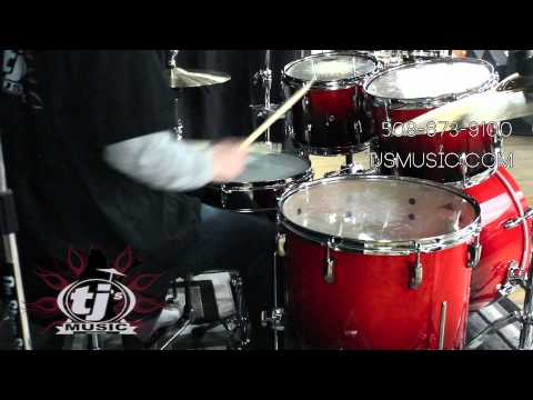 tj 39 s music demos pearl vision vbl 5 piece drum kit in ruby fade youtube. Black Bedroom Furniture Sets. Home Design Ideas