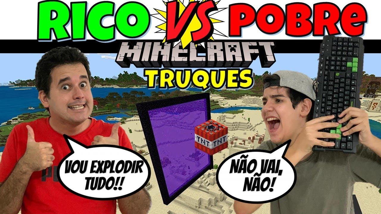 RICO vs POBRE MINECRAFT TESTANDO TRUQUES DO TIK TOK #6 | PEDRO MAIA
