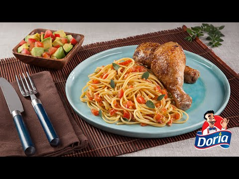 Spaghetti Doria sabor Pollo Asado con piernas de pollo doradas