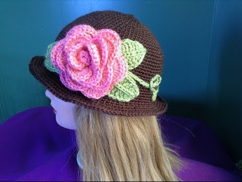 How to Crochet a Brimmed Flower Hat Part 2