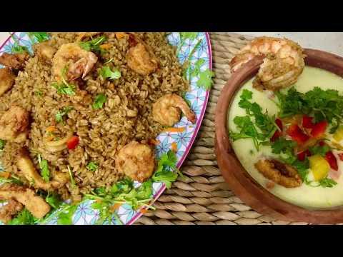 الأرز بالجمبرى وشوربة السى فود والسر فى طعم ولون أرز بالجمبرى المطاعم