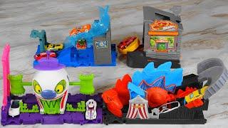 Hot Wheels City Dino Coaster Attack VS The Jocker Fun House VS Mr Freeze Police Takeover VS Pizza To