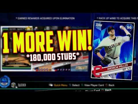 1 GAME AWAY FROM 96 ANDREW MILLER! *180,000 STUBS* MLB The Show 17 | Battle Royale