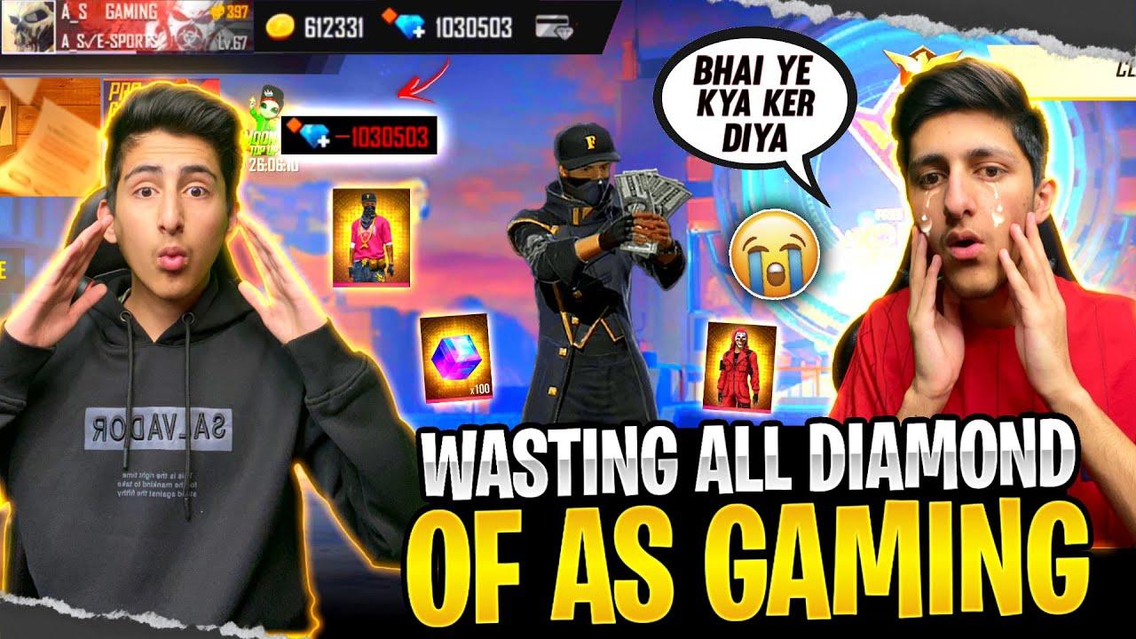Wasting All Diamond Of As Gaming Id Hack Prank ? Funny Reaction 12,000 Diamond - Garena Free Fire