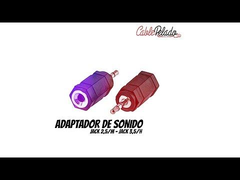 Video de Adaptador audio estereo JACK 3.5/H-JACK 2.5/M  Negro