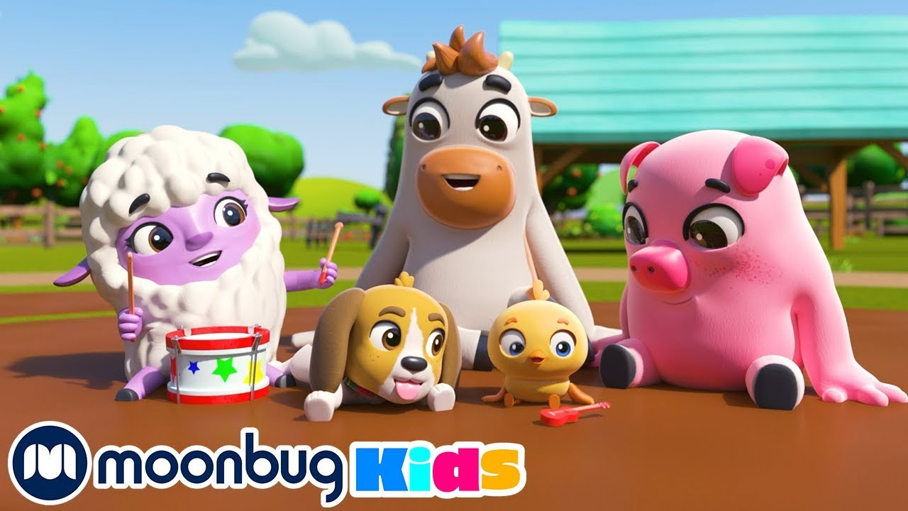 Wheels on the Bus - Animal Sounds at the Farm   ABCs and 123s   Kids Learning Little Baby Bum