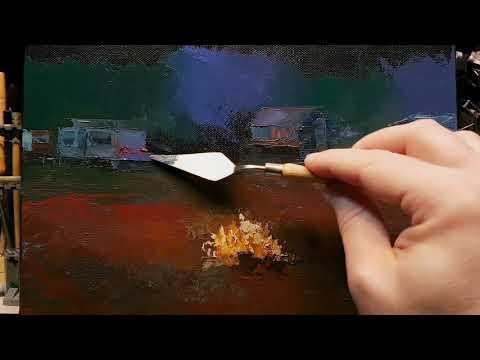 Campfire Night - Palette Knife | Brush Oil Painting - Caravan Camping Trees Dusan