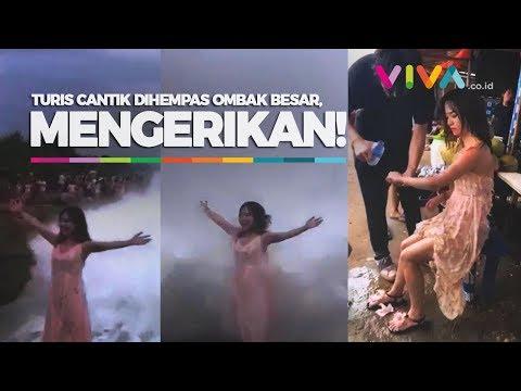 MENGERIKAN! Detik-detik Turis Cantik Dihempas 'Ombak Setan' Di Bali