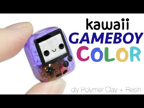 How to DIY Kawaii GameBoy Color Polymer Clay/Resin Tutorial (Batteries included!)