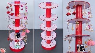 Best Out Of Waste... DIY Organizer || Earring Stand Making at Home