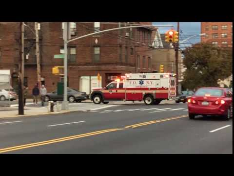 BRAND NEW ECO FRIENDLY FDNY EMS AMBULANCE RESPONDING ON BARNES AVENUE IN THE BRONX, NEW YORK CITY.