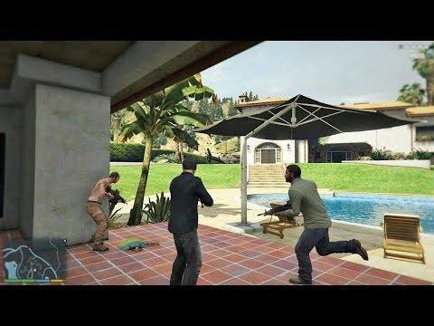 GTA 5 - Franklin, Michael And Trevor Five Star Escape From LAKE VINEWOOD ESTATES # 46