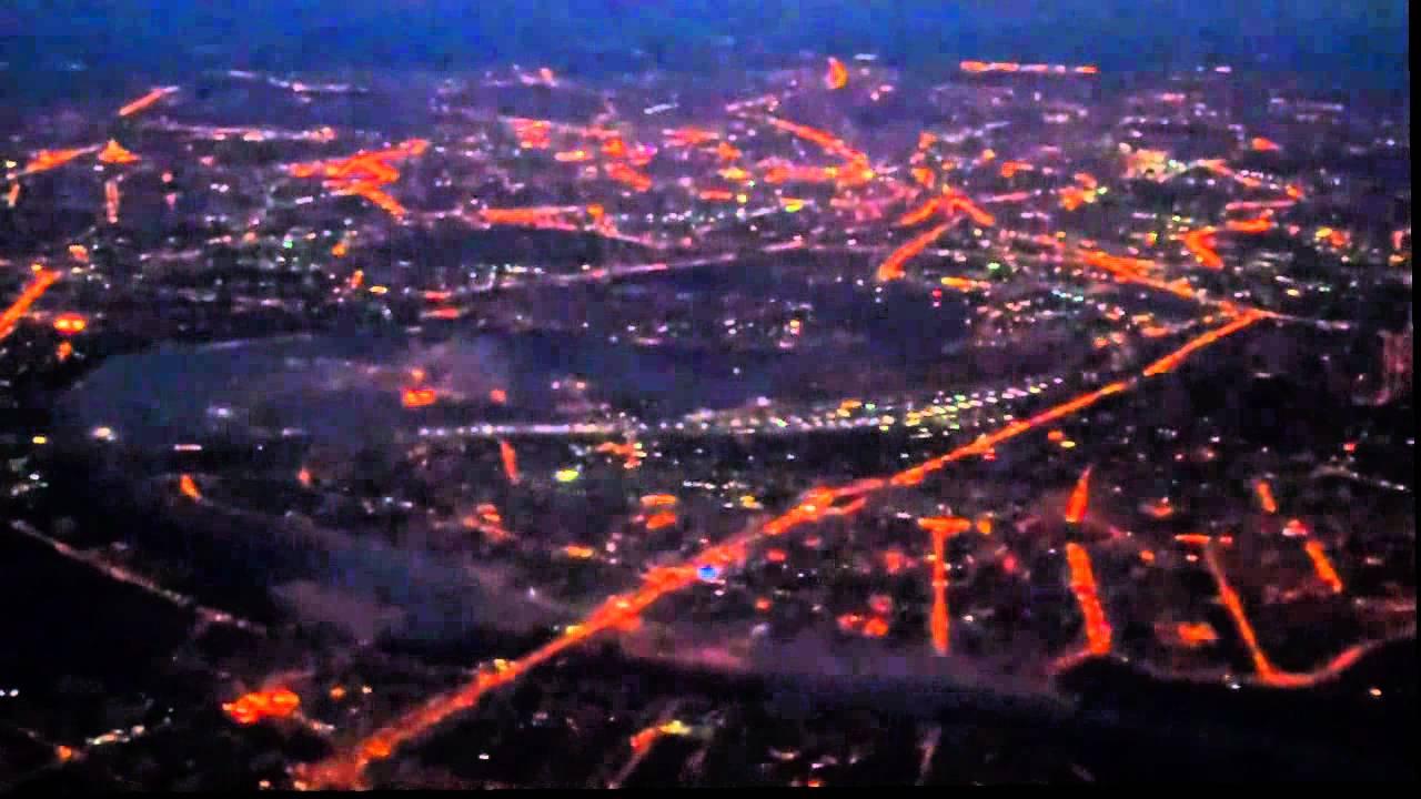 Ночная москва с самолета (стаб, x4) - YouTube