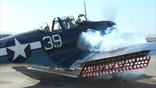 Douglas SBD Dauntless Dive Bomber Startup - Engulfed in Smoke & Propwash