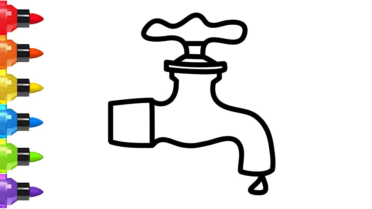 How To Draw A Tap Water Easy For Kids Coloring Book And