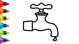 How to Draw a tap Water Easy for Kids - Coloring Book and Drawing for Childen