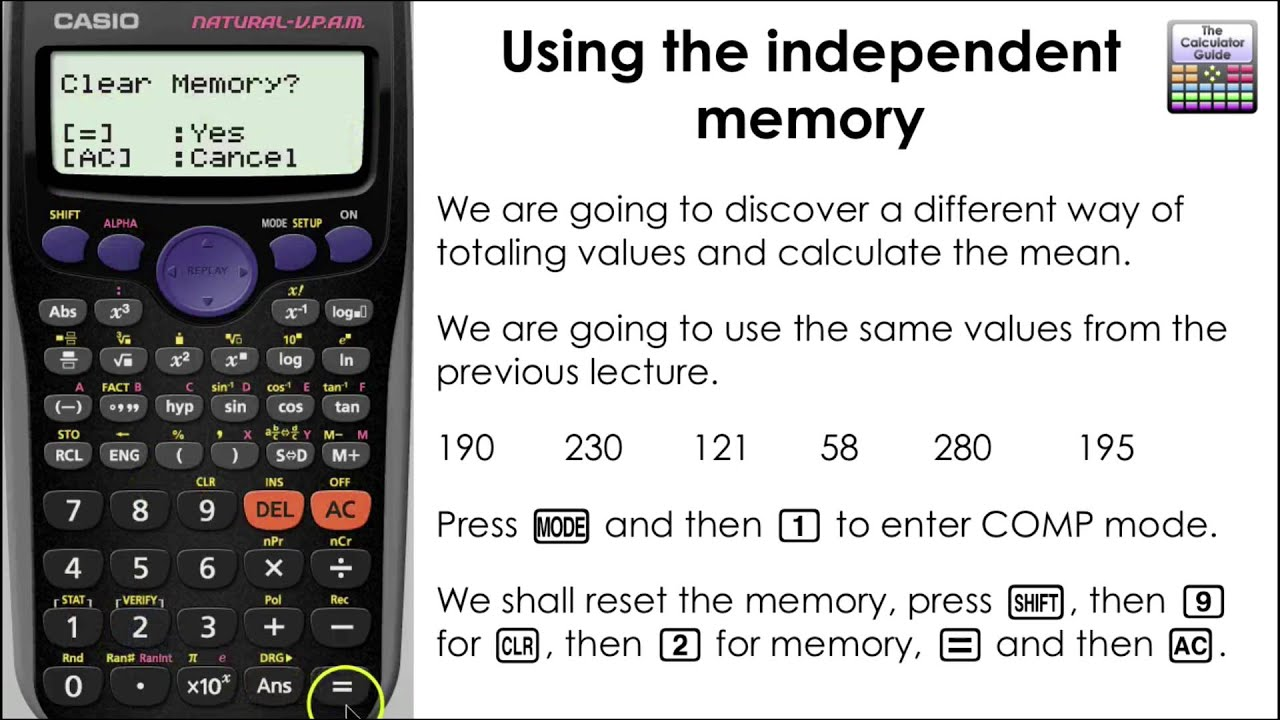 calculating the mean using values stored in the memory m button casio calculator fx 83gt plus. Black Bedroom Furniture Sets. Home Design Ideas