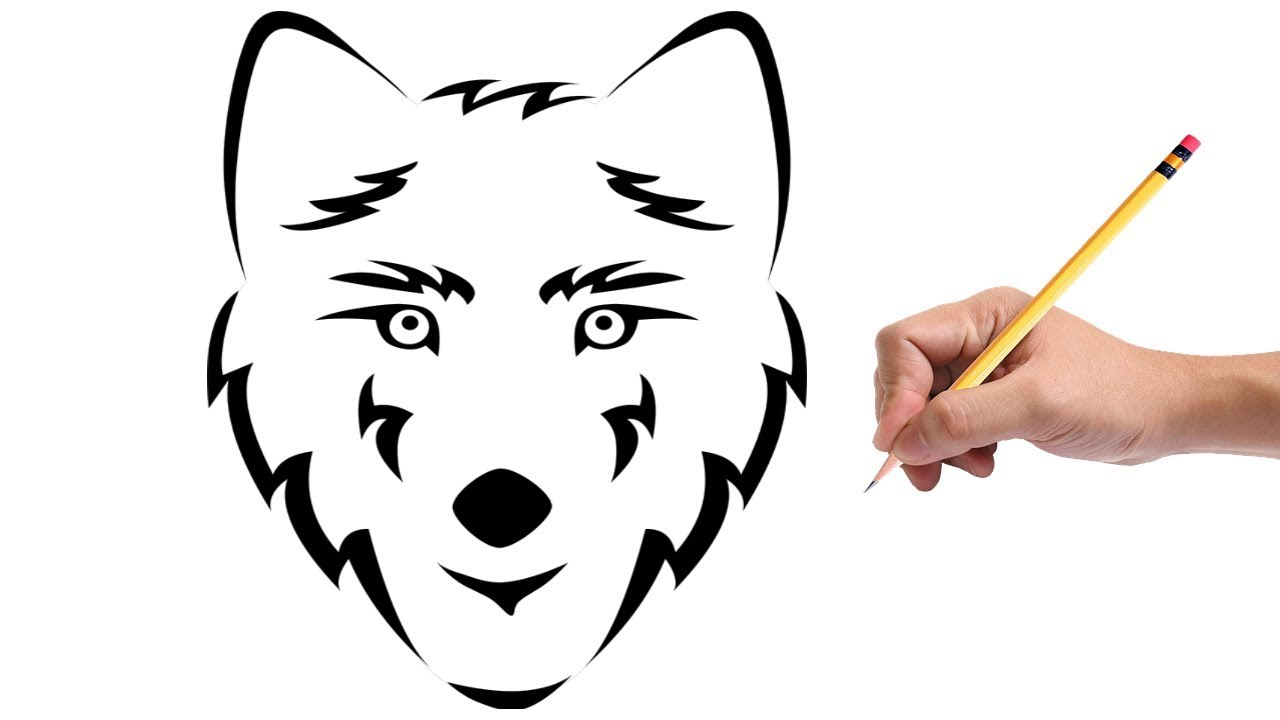 How To Draw A Tribal Wolf Head Tattoo Youtube