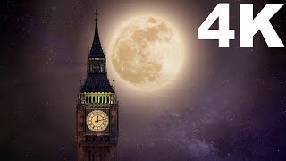 4K Amazing Universe Galaxy Stars Clock Tower Free HD Videos - No Copyright
