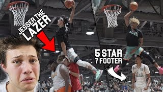 HIGHSCOOLER JUMPS OVER JESSER THE LAZER in Ball is Life DUNK CONTEST!