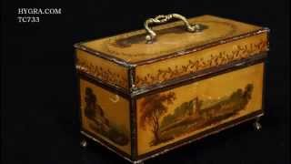 Hygra Tc733 Antique Toleware Tea Chest With Landscape Paintings Iconic, Circa 1765