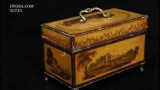 Hygra Tc733 Antique Toleware Tea Chest With Landscape Paintings Iconic, Circa 1765