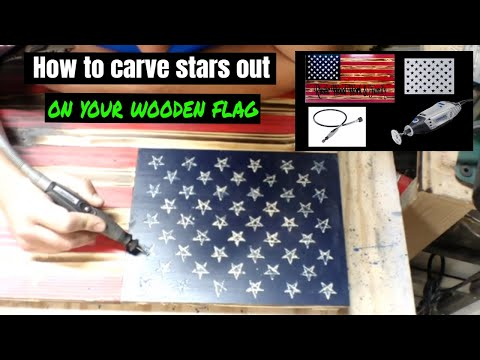 DIY Cut out stars with a Dremel 3000 on a wooden flag