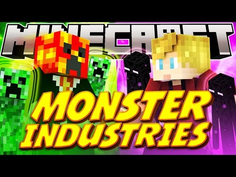 "Minecraft ""CREEPERS VS ENDERMEN"" MONSTER INDUSTRY WARS! (Minecraft RTS Game) - w/Lachlan & Preston"
