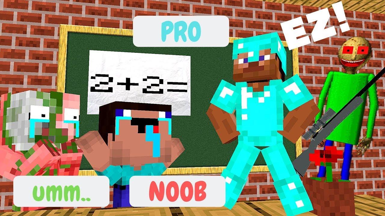 Monster School: NOOB VS PRO VS MOBS CHALLENGE - Minecraft Animation