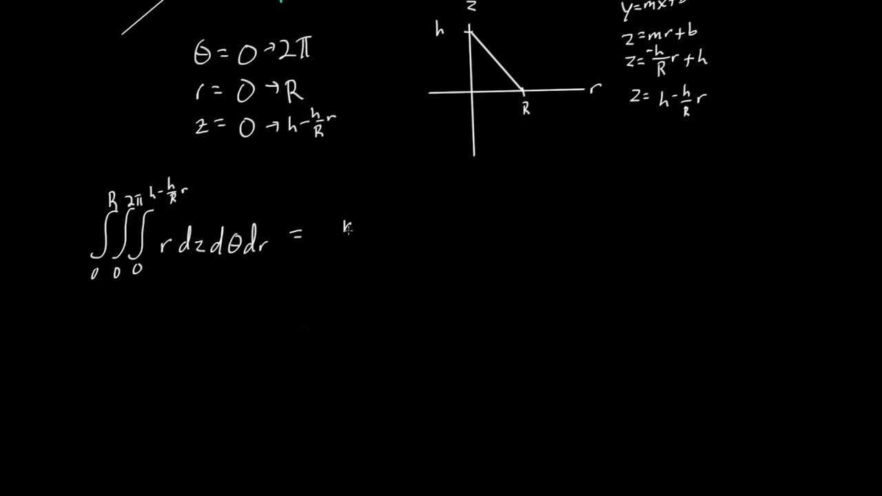 Volume Of Cone Using Triple Integral In Cylindrical Coordinates