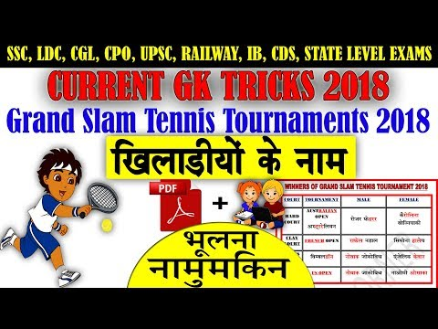 Sports Gk Trick : 2018 Grand Slam Tennis Tournament  Winners | Current Affairs