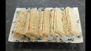 English Afternoon Tea Sandwiches Smoked Salmon and Chive Cream Cheese finger Sandwich Recipes