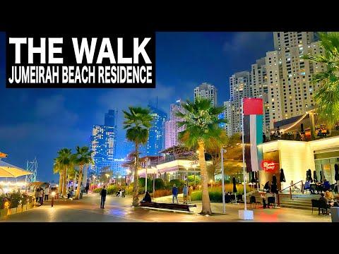 THE WALK at Jumeirah Beach Residence Complete Night Walk | 4K | Dubai Tourist Attraction
