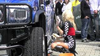 Ellingen tuning event - Sexy girls car wash H2 video, Rated PG13!