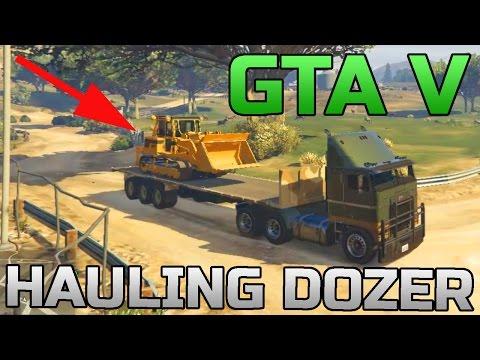 GTA V | HAULING A BULLDOZER | ARMY SEMI TRUCK | OFF-ROADING