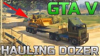 GTA V | HAULING A BULLDOZER | ARMY SEMI TRUCK | OFF-ROADING
