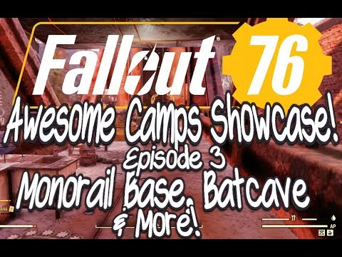 Fallout 76 Awesome Camps Showcase Episode 3 Monorail Base, Batcave and More! thumbnail