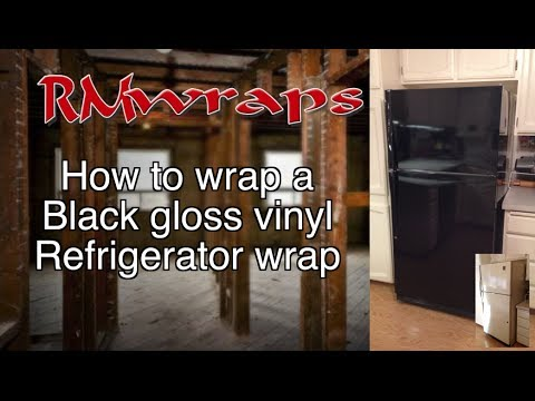How to install a Black vinyl on a fridge Wrap Film Rm