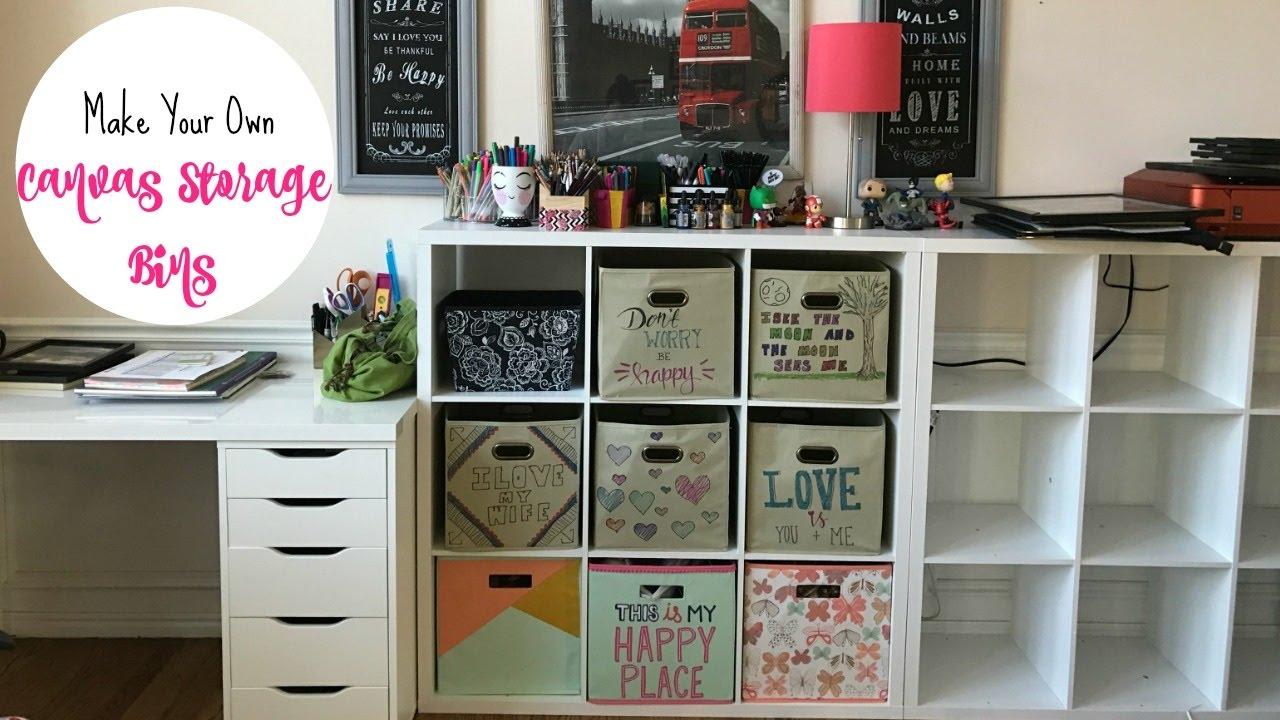 make your own cute canvas storage bins youtube